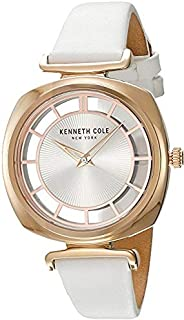 Kenneth Cole Women's Silver Dial Genuine Leather Band Watch - Kc15108003, Analog Display