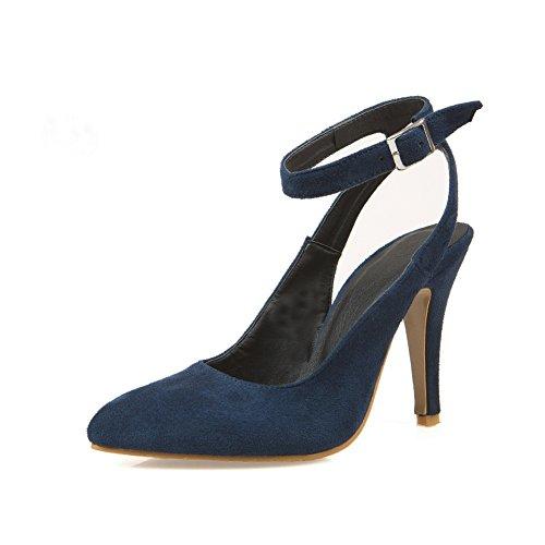 CosyFever Zapatos de Tacones D'Orsay Aguja Alto conTira de Tobillo Sólido Sexy LC18 para Mujeres Azul - 39 EU