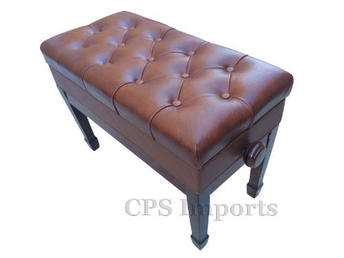 Genuine Leather Adjustable Duet Size Artist Piano Bench Stool in Walnut with Music Storage