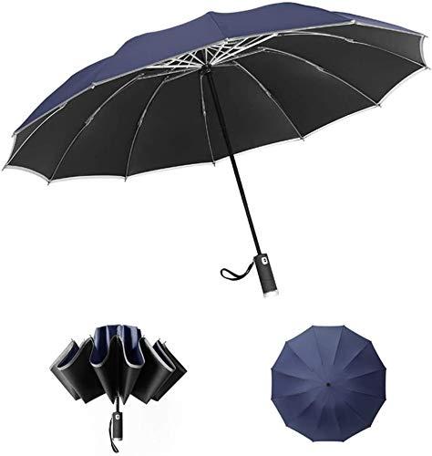 Paraguas invertido LED con Franja Reflectante, Plegable automático a Prueba de Viento, Paraguas invertido de 12 Varillas con Linterna LED (Azul)