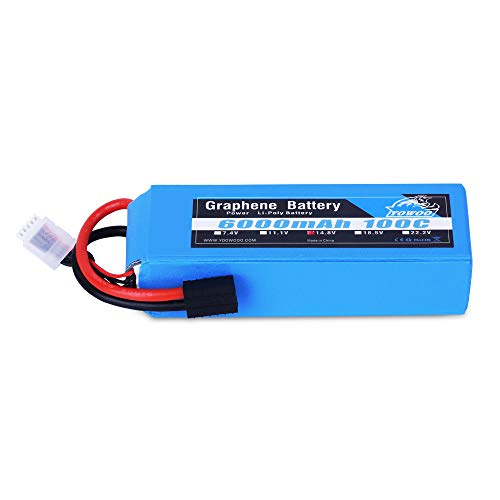 YOWOO Graphene Battery 4S 6000mAh 100C 14.8V LiPo Batteries with Traxxas Plug for RC Plane 450 Helicopter Traxxas Slash X-Maxx 8S RC Buggy Truggy Crawler Monster Car Kyosho GP 4WD Racing Truck