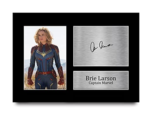 HWC Trading Brie Larson A4 Sin Marco Regalo De Visualización De Fotos De Impresión De Imagen Impresa Autógrafo Firmado por Captain Marvel The Avengers Los Aficionados Al Cine