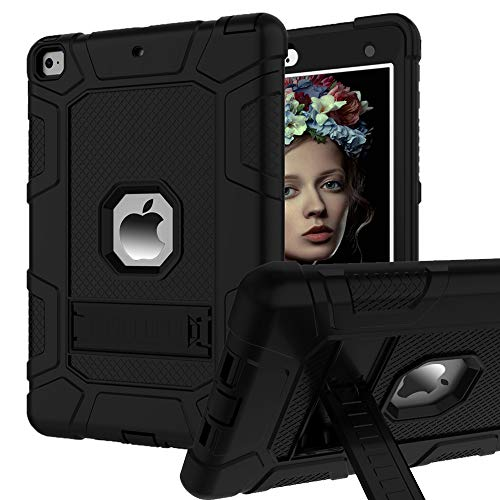 iPad 6th Generation Cases, iPad Case, iPad 9.7 Inch Case, Hybrid Shockproof Rugged Drop Protection Cover Built with Kickstand for iPad 9.7 inch A1893 / A1954 / A1822 / A1823 (Black)