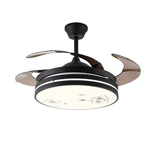 Luce Plafoniera Fashian Invisible Light ventilador de 42 pulgadas LED simple moderna Ventilador de techo Luz Salón Comedor Patrón habitación Ventilador de la lámpara de operación de control remoto, 45