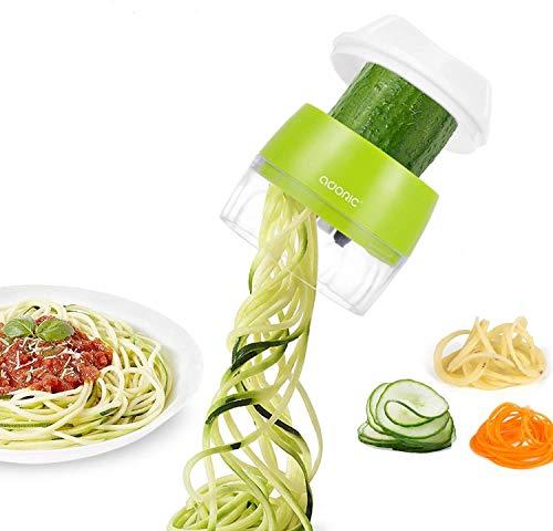 Rallador de verduras, cortador en espiral, zoodle, pasta, espaguetis, color naranja