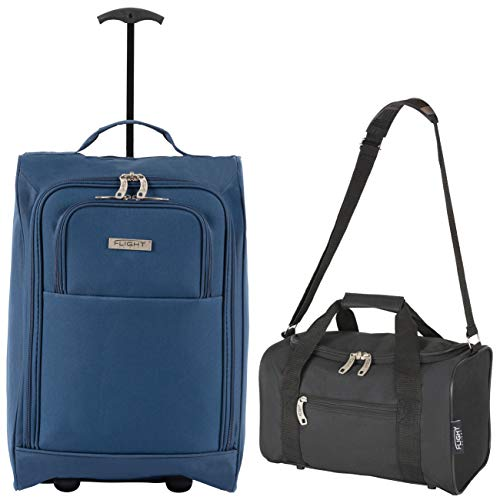 Flight Knight Set of Cabin Suitcase 55x35x20cm and Carry On Hand Luggage easyJet Ryanair Approved 2 Wheels Lightweight Bag Ideal for Airline Travel