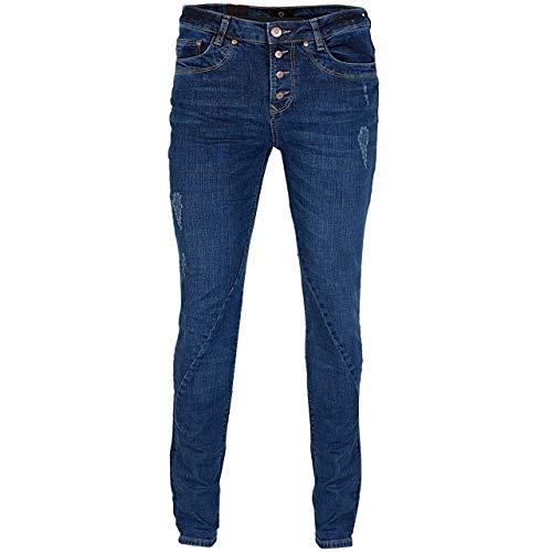 GIN TONIC Damen Boyfriend Jeans Mid Blue Wash, Größe:33/32, Farbe:MID Blue WASH