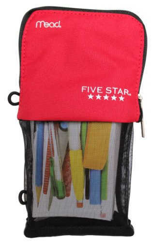 Mead Five Star Stand and Store Self Standing Pencil Pouch, Colors May Vary