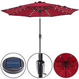 Kingsleeve sombrilla de Aluminio 300cm con 32 Luces LED Solar Rojo manivela Parasol inclinable jardín terraza Playa balcón