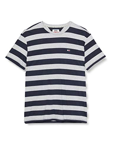 Tommy Hilfiger TJM Heather Stripe tee Camiseta, Azul (Black Iris Htr 002), Small para Hombre