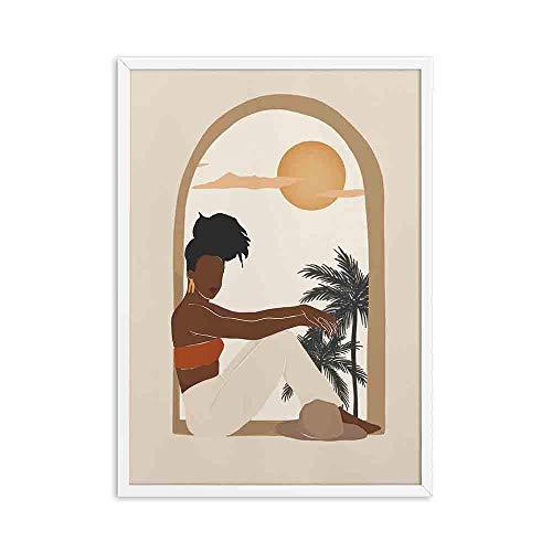 LTXMZ Afrika KöNigin Schwarze Frau Poster Kunstdruck Sonne Und Mond GemäLde Abstrakte Afrikanische Leinwand Bild Kunstdruck Boho Wandbilder Wohnzimmer Dekor 40x60cm Ohne Rahmen