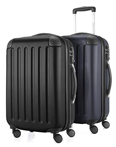 HAUPTSTADTKOFFER - Spree - 2er Koffer-Set Handgepäck Hartschale, TSA, 55 cm mit Volumenerweiterung, Schwarz-Dunkelblau