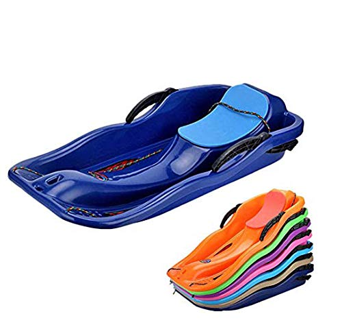 Snow Sled Kids Toboggan with Brakes & Anti-Slip Foot Panels - Baby Pull Sled Sand Grass Skiing Snowboard Boat Sleigh for Kids (Blue)