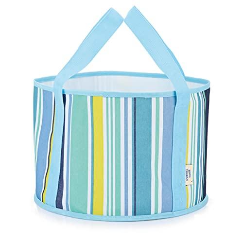 HTSHOP Bacinella per l'acqua Pieghevole, lavabo per bucato Portatile da Viaggio, Borsa per l'ammollo dei Piedi, Secchio per Acqua da Viaggio all'aperto(Color:Blue Bar,Size:M)