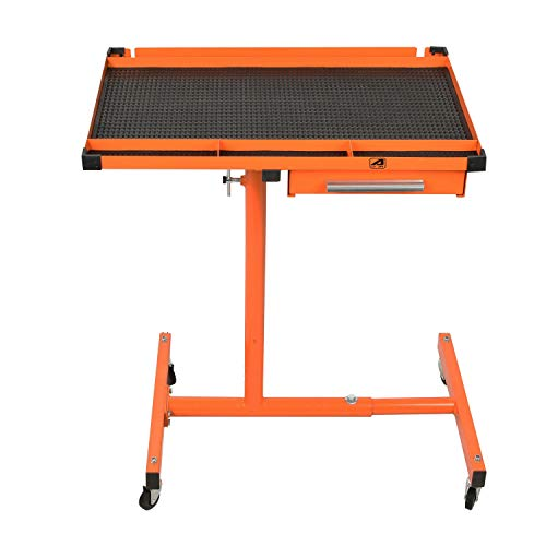 Aain Heavy Duty Adjustable Work Table With Drawer, Rolling Tool Table For Garage,220 lbs Capacity Tool Tray With Wheels