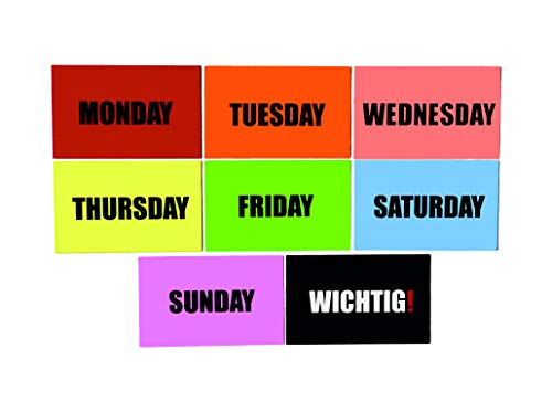 Días de la semana – Imanes de lunes a domingo + importante, imanes para nevera, pizarra magnética, pizarra blanca, plan semanal, 55 mm x 88 mm, incluye bonus: Dirty - Clean Magnet