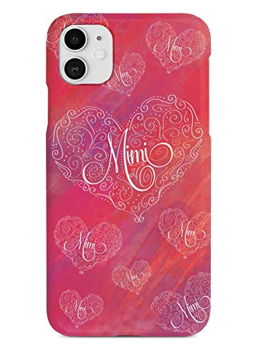 Inspired Cases - 3D Textured iPhone 11 Case - Rubber Bumper Cover - Protective Phone Case for Apple iPhone 11 - Mimi Pink Doodle Heart Grandma