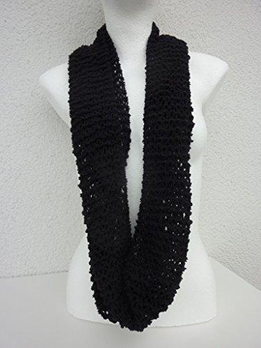 weicher Loop Rundschal Schlauchschal Schal handgestrickt aus feiner Microfaser-Wolle in schwarz
