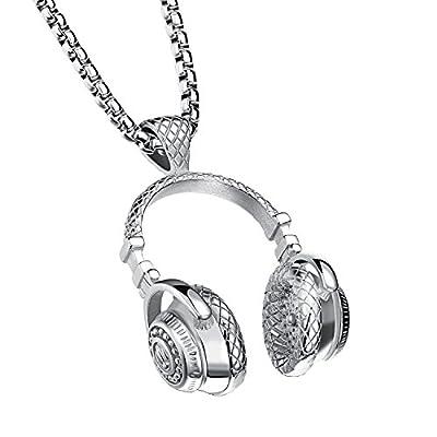 PAURO Men's Stainless Steel Music Headset DJ Headphone Pendant Biker Necklace, Silver from PAURO