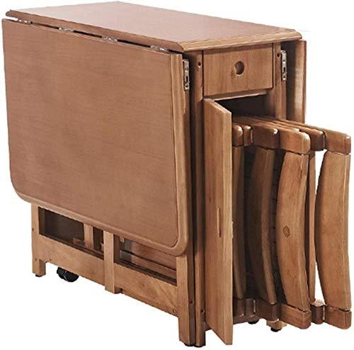 MUY Klappbarer Esstisch mit Klappdeckel, multifunktional, klappbarer Esstisch, Teleskop-Funktion, platzsparender Computer-Beistelltisch (Größe: 1 Tisch mit 6 Stühlen) 1 Tisch mit 6 Stühlen