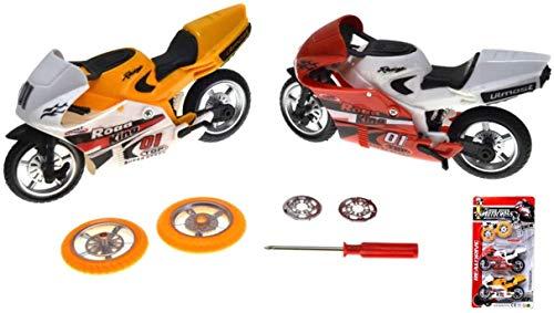 VENTURA TRADING Pack de 2 Motocicletas Bicicletas de Carreras Motos de Juguete con repuestos Motocross Motocicletas Juguete Motos