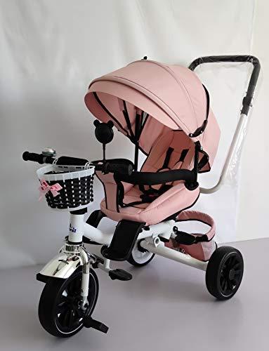 Triciclo Bebé Toral Rosa 2 en 1 Evolutivo con Capota y Barra Desmontable 18 m+