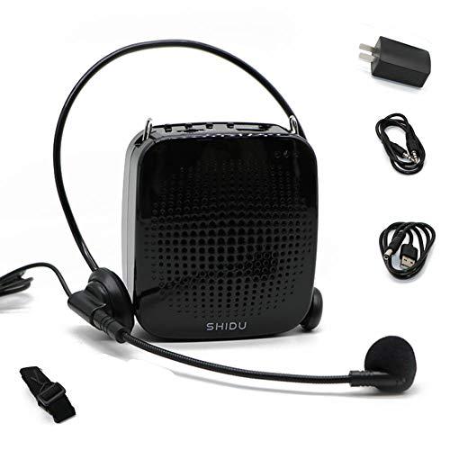 SHIDU Amplificador de voz 15W para micrófono, ultraligero, sistema de PA con altavoz, micrófono recargable, compatible con tarjeta USB/TF/Aux, sonido súper claro para Profesor/cantar/parkinson, etc.