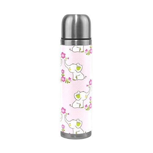 Ffy Go Travel Mug, mignon éléphant Motif floral personnalisé Thermos en acier inoxydable LeakProof Thermos isotherme extérieur Cuir pour filles garçons 500 ml