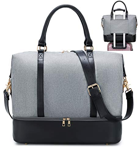 Womens Travel Weekend Bag Canvas Overnight Carry on Shoulder Duffel Beach Tote Bag (Grey with shoe compartment)