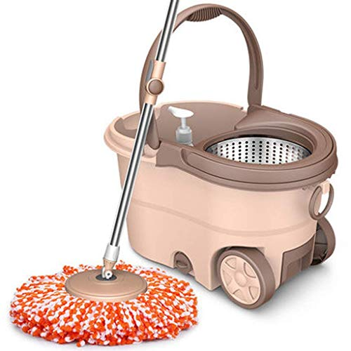 Magic Mop Roller Mop Bucket Spinning Mop Bucket Trapeador de Acero Inoxidable para Madera Dura Baldosas de mármol Laminado