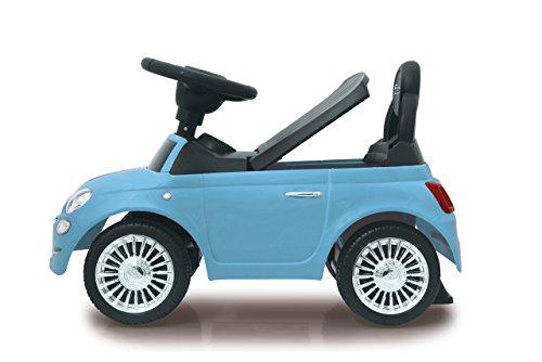 Jamara 460327 - Rutscher Fiat 500 blau - offiziell lizenziert, Kofferraum unter der Sitzfläche, Schub- und Haltegriff, verschiedene Sounds, Hupe, originalgetreue Optik, wertige Verarbeitung