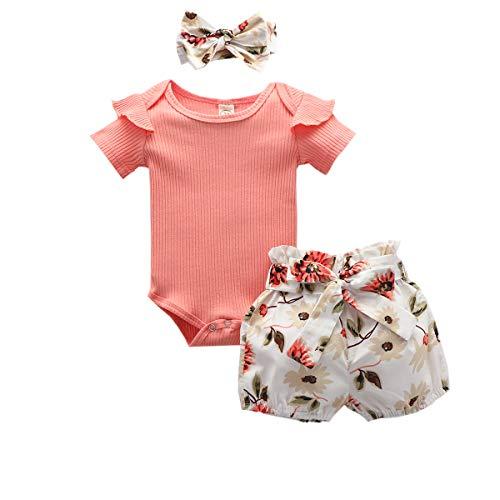 Livingsenburg Juego de 3 pantalones cortos de manga larga para niña de 0 a 24 meses, diseño floral, color rojo M-Rosa 12-18 Meses