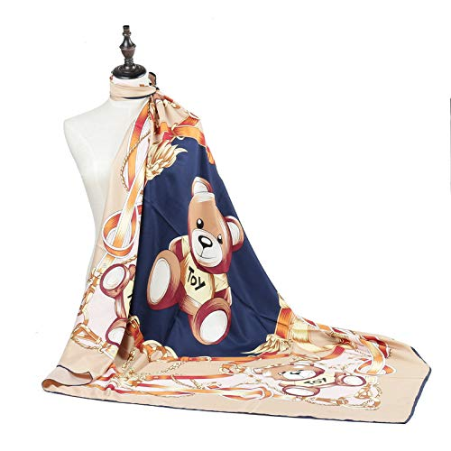 WEJNNI Imitatie zijden sjaal Leuke cartoon Poeh beer TOY gedrukte dames 130 * 130cm grote vierkante sjaal