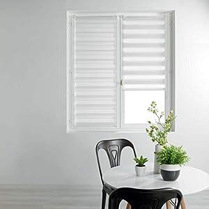 Estor d'intérieur 1950033 - Estor Enrollable de día y Noche, poliéster, Blanco, 60 x 90 cm