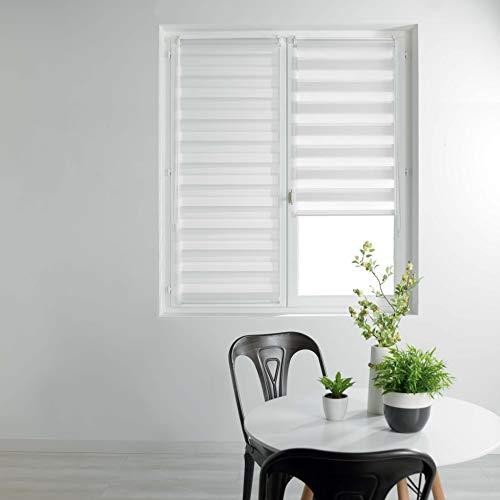 Douceur d'Intérieur Coton d'intérieur 1950016 Enrouler Jour et Nuit, Polyester, Blanc, 60 x 180 cm