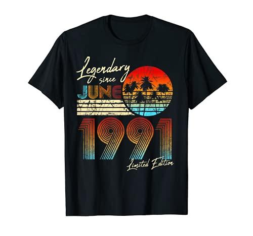 Nées En 1991 Juin Cadeau Anniversaire 30 Ans Vintage T-Shirt