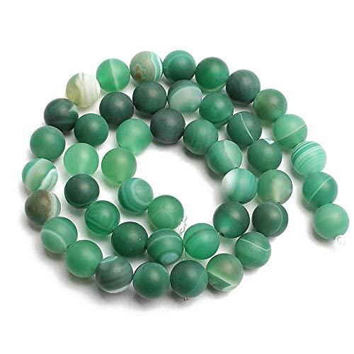 Piedra natural con cuentas mate, 4/6/8 / 10 mm, perlas de ágata agrietadas pulidas opacas y opacas para la fabricación de joyas y pulseras.-ágata verde rayas_4mm 92pcs