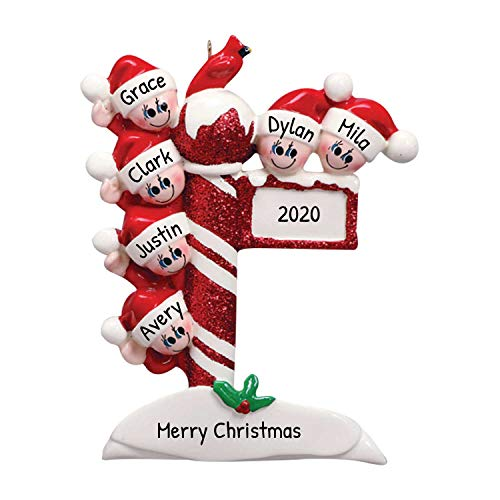 Personalized Street Post Family of 6 Christmas Tree Ornament 2020 - Child Friend Santa Hat Red Glitter Candy Cane Pole Cardinal Gift Kid Tradition Gift Year Snow - Free Customization (Six)