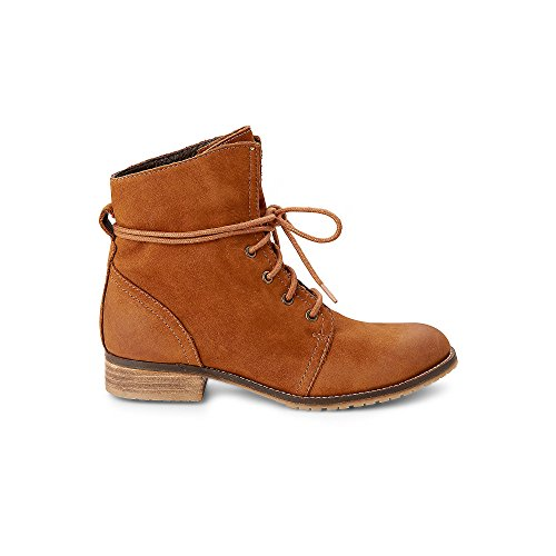 Cox Damen Schnür-Boots aus Leder, Freizeit-Stiefel in Braun mit kuscheligem Warm-Futter Braun Leder 36