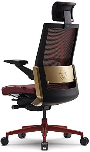 SIDIZ T80 Chair - Marvel Iron Man Edition (T800HLDACC): German Ultimate Sync Mechanism, Headrest, Mesh Back, Lumbar Support, Leather Seat, 3D Arm, Seat Slide/Slope, Powder-Coated Aluminum Base