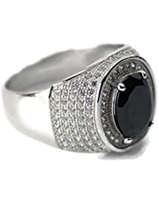 Sterling Silver 925 Ring with BLACK zircon stone size 6