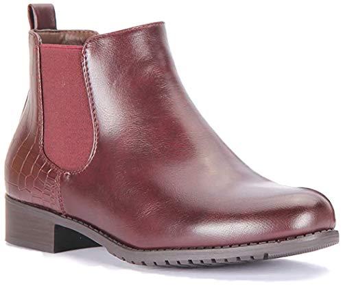 Chelsea Damen Stiefeletten, flach, elastisch, zum Überziehen, Größe UK, Rot - wein - Größe: 39 EU