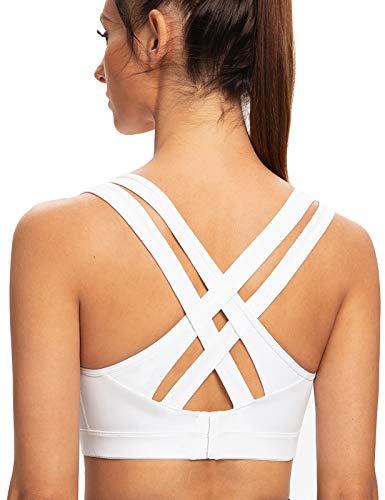 AGONVIN Sujetador Deportivo para Mujer Acolchados para Mujer Espalda Sexy De Alto Impacto Blanco S