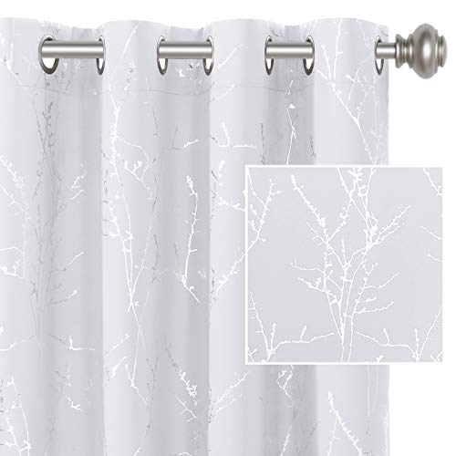 H.VERSAILTEX White Curtains for Bedroom Foil Print Twig Tree Branch Thermal Insulated Grommet Curtain Drapes Light Blocking Thick Soft Window Curtains for Living 52 x 84 Inch Pure White 2 Panels