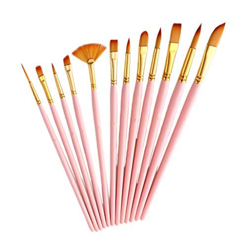 Hellery 12 Pieces Pinceaux de Maquillage Set Brosse de Maquillage Pinceau de Détail Ensemble