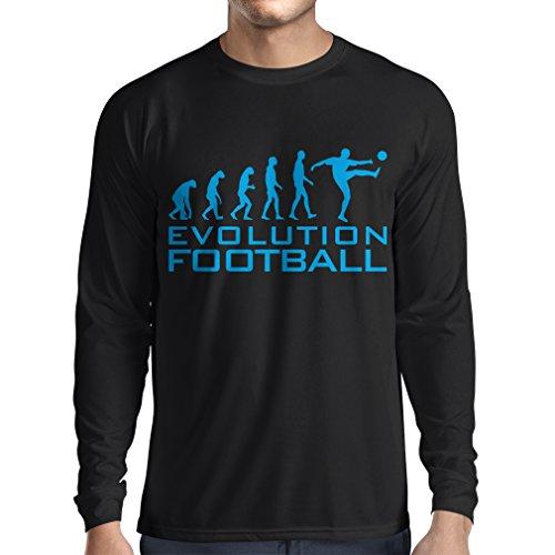 lepni.me Camiseta de Manga Larga para Hombre La evolución del fútbol - Camiseta de fanático del Equipo de fútbol de la Copa Mundial (Medium Negro Azul)