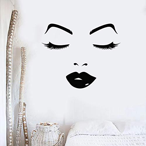 WERWN Tatuajes de Pared salón de Belleza Cara de Mujer Hermosos Labios Ojos decoración de Interiores Vinilo Pegatinas para Puertas y Ventanas Dormitorio de niña Mural Creativo