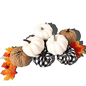 winemana Set of 12 Assorted Pumpkin Decorations, Realistic Lifelike White Pumpkins Burlap Pumpkins and Pumpkins in Lattice Pattern for Thanksgiving Indoor Outdoor Decoration Photo Props