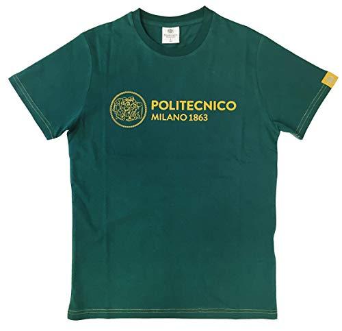 Politecnico Milano 1863, T-Shirt Linea ISTITUZIONALE Winter 2020 - Uomo (Verde/Giallo, L)