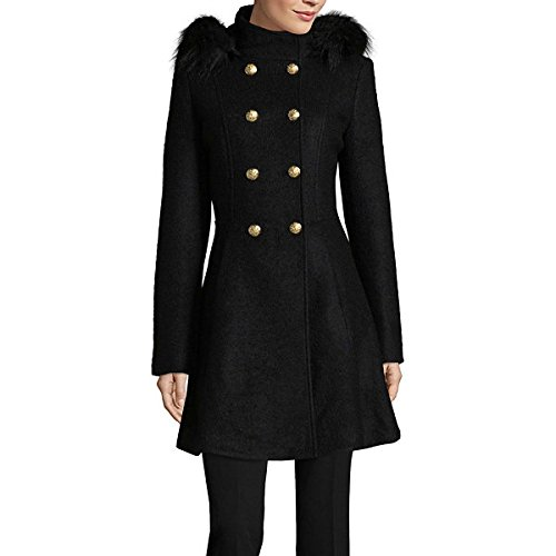 LIZ CLAIBORNE Midweight Hooded Peacoat Black